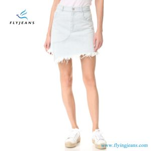 E. P. 520 Bleach Ladies Jeans Dress Women Denim Mini Skirts pictures & photos