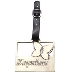 Metal Zinc Alloy Bag Tag with Leather Strap - Available for Custom Design pictures & photos