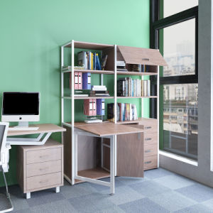 Home Office Furniture Storage Rack with Foldable Desk on Sale pictures & photos