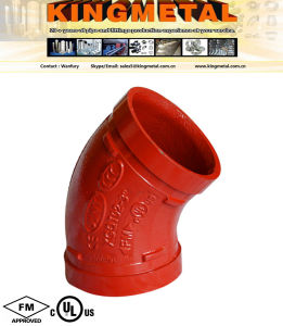 45 Degree Ductile Iron Grooved Pipe Fitting of Elbow. pictures & photos