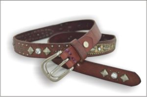 Dark Brown Full Grain Cowhide Leather Belt with Rhinestone pictures & photos