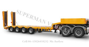 4 Axle Airbag Suspension Low Deck/ Lowbed Cargo Semi Truck Trailer pictures & photos