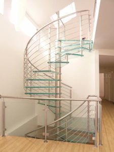 Stone Tread Stainless Steel Curved Staircase pictures & photos