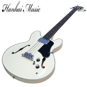 Hanhai Music/Semi-Hollow Milk White Electric Bass Guitar with 4 Strings pictures & photos