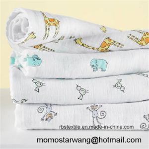 Printing Soft Baby Swaddle Blanket Made of Muslin Cotton pictures & photos