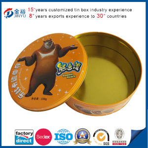 Metal Biscuit Tin Food Box Embossing Round Shape pictures & photos