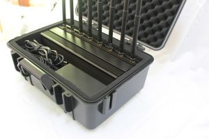 GPS 8 Antennas 18W GPS L1 L2 L5 Lojack RC 868 433 315MHz Briefcase Jammer up to 50m; Stationary Adjustable 8bands Jammer with Safe Case pictures & photos