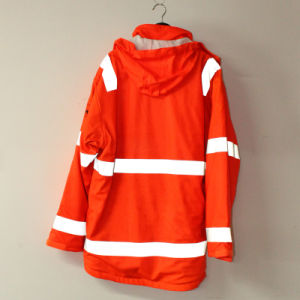 Orange Hooded PU Jacket/Raincoat/Reflective/Safety Working Wear for Adult pictures & photos