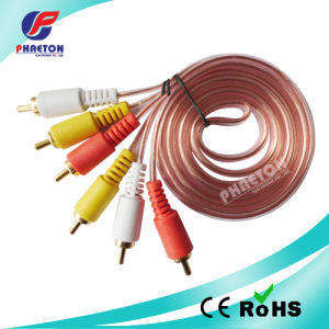 Audio Video Cable 3RCA Male to 3RCA Male Transparent Cable pictures & photos