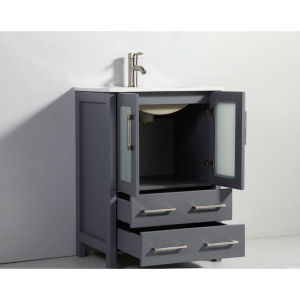 24-Inch Dark Grey Double Door Solid Wood Sink Vanity with Mirror pictures & photos