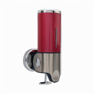 Dark Red 500ml Stainless Steel+ABS Plastic Wall-Mountained Liquid Soap Dispenser