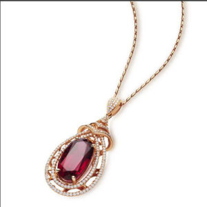 925 Sterling Silver 18k Gold Plated Fashion Ruby Pendnt Necklace pictures & photos