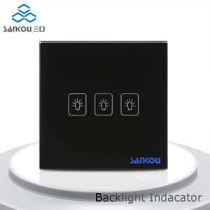 Sankou Black Glass Panel 3 Gang Classical Electronic Touch on Home Glass Touch Sensor Light Switch