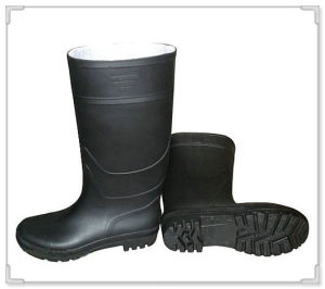 Industrial Black PVC Safety Rain Boots with Steel Toe and Steel Plate pictures & photos