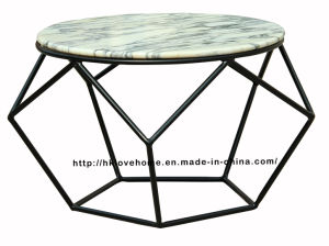 Morden Dining Coffee Metal Wire Marble Top Table pictures & photos