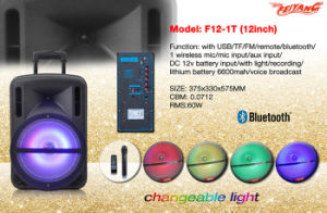 "Plastic Shell 12"" Portable Trolley Speaker with USB SD FM Remote Bluetooth F12-1 pictures & photos"