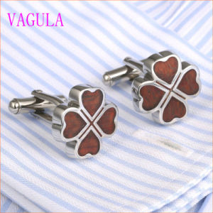 VAGULA Lucky Leaf Rosewood Stainless Steel Cuffs Red Wood Cufflinks 360 pictures & photos