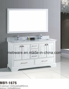 "72"" White Wood Bathroom Vanity with Marble Top pictures & photos"