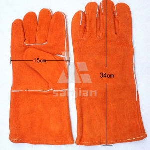 "Orange Double Plam Blue&Yellow 13"" Split Leather Ab/Bc Grade Welding Safety Glove with CE pictures & photos"