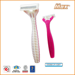 Triple Blade Stainless Steel Blade Disposable Shaving Razor (LV-3287) pictures & photos