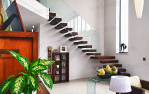 Solid Wood Treads Stair Case / Straight Stair pictures & photos