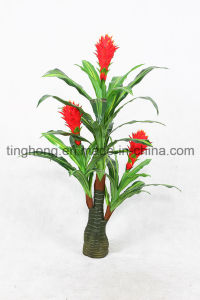 Indoor & Outdoor Decoration Artificial Plant with 3 Flowers