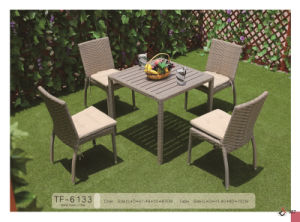 Comfortable Outdoor Synthetic Wicker Ploywood Top Dining Table and Chair pictures & photos