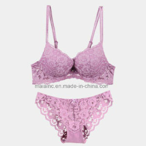 Sexy Royal Lace Push-up Ladies Bra and Panty pictures & photos