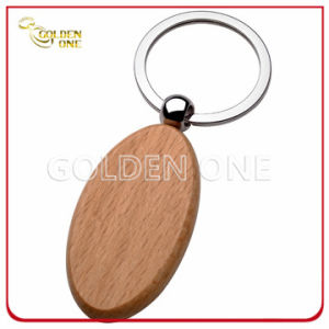Novel Design Fine Quality Oval Shape Wooden Key Ring pictures & photos