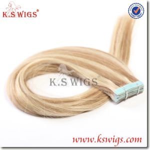 Human Hair Extension Virgin Remy Tape on Hair pictures & photos