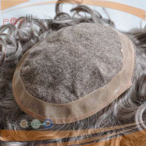 Factory Cheap Price Silicone Mens Wig Toupee pictures & photos