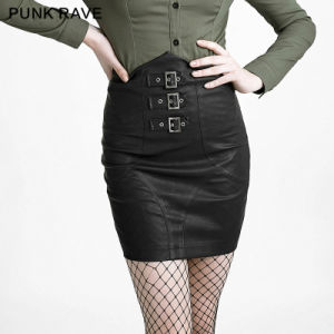 Q-279 Black Simple High-Waist Skirt with Blets pictures & photos