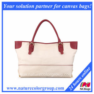 Fashion Canvas and Leather Shoulder Tote Bag, Large, Beige pictures & photos