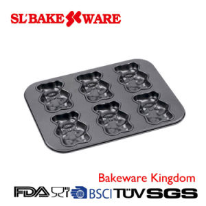 6 Cup Teddy Bake Pan Carbon Steel Nonstick Bakeware (SL-Bakeware)