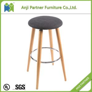Top Quality Europe Standard Fabric Bar Stool Chair with Four Wooden Legs (Hagibis) pictures & photos