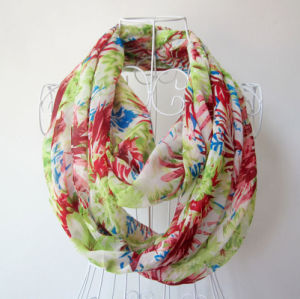 Woman Fashion Flower Printed Chiffon Infinity Spring Scarf (YKY1100) pictures & photos