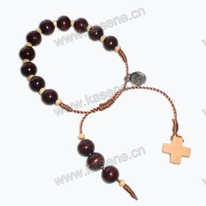 10mm Wooden Beaes Cord Knotter Bracelet with Wooden Cross