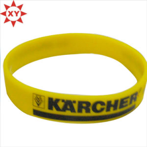 Bright One Yellow Silicon Wristband with Black Writing Printing pictures & photos