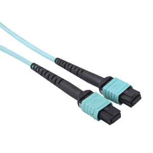 MPO/MTP Om3 Aqua Fiber Optic Cable Patchcord pictures & photos