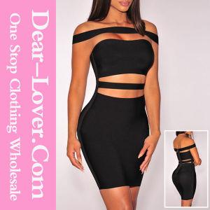 Black off-Shoulder Cut-out Bandage Dress pictures & photos
