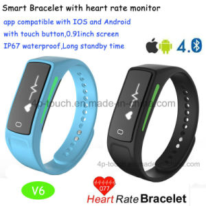 New Developed Bluetooth Smart Bracelet with Heart Rate Monitor V6 pictures & photos