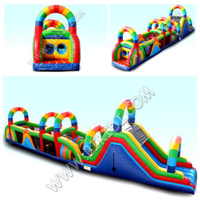 Bikidi Great Attraction Fashion Outdoor Obstacle Course Equipment/Colourful Rainbow Inflatable Obstacle pictures & photos