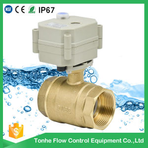 "1 1/4"" Inch Dn32 Brass Electric Actuator Water Motorized Motorised Ball Valve pictures & photos"