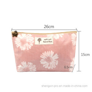 Simple 100% Canvas Cosmetic Bag for Cosmetics with Label Stitching pictures & photos