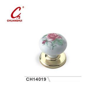 Furniture Hardware Ceramic Knob Handles with Pink Flowers pictures & photos