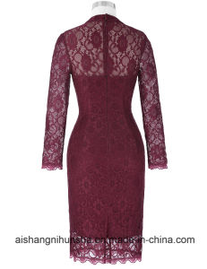 Wine Red Long Sleeve Mother of The Bride Dresses pictures & photos