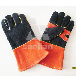 Double Palm Black Orange Leather Ab/Bc Grade Welding Safety Glove pictures & photos