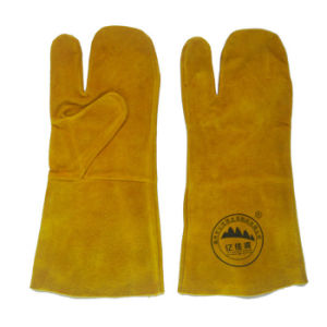 Industrial Cow Split Leather Welding Hand Gloves pictures & photos