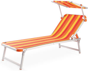 Steel Pipe Beach Lounge Chair with Sunshade Canopy pictures & photos