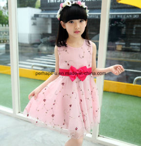 Fashion Sleeveless Lovely Printing Flower Girls Dress Children Wear pictures & photos